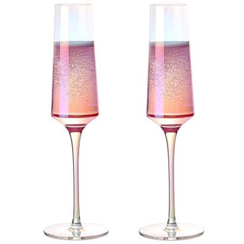 Meichu 2er Set Sektglas Modern Champagnerglas 100% Bleifrei Kristall mundgeblasen Sektgläser bunt