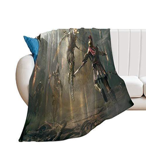 Manta cálida y ligera térmica suave para todas las estaciones para sofá de cama, Assassin's Creed Odyssey Game Lucha con zombis, elegante manta para capas de cualquier cama o sofá 100 x 130 cm