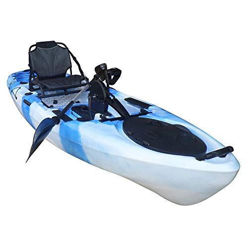 BKC PK11 Angler 10.5-Foot Sit On Top Solo Fishing Kayak w/Instant Reverse Pedal Drive, Hand Control Rudder, Paddle, and Upright Seat (Blue Camo)