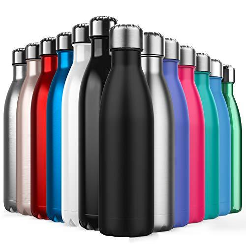 BICASLOVE Botella de Agua de Acero Inoxidable,Diseño de Pared Doble,Boca EstáNdar,para Correr,Gimnasio,Yoga,Ciclismo,500ML,Negro