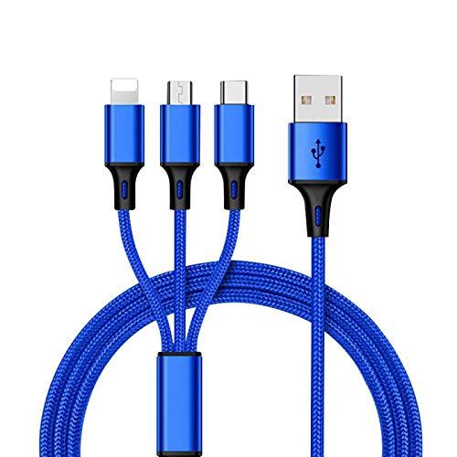 superior ZRL 2 Pack 3 in 1 de USB Charge Câble, Nylon Braided Multiple Chargeur câble (1,2 m) avec (Micro-iOS-Type C)(Charge Uniquement)