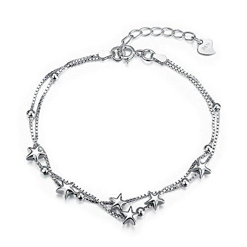 JewelleryClub Stars Bracciale In Rilievo Di Fascino Argento 925 Sterling Silver Bracelet Cavigliere Di Stile per le Donne Delle Ragazze
