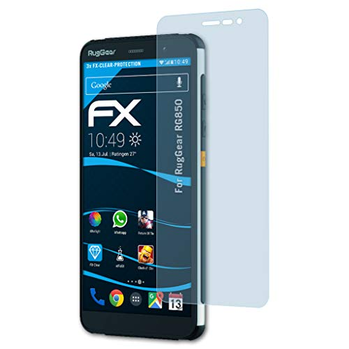 atFoliX Schutzfolie kompatibel mit RugGear RG850 Folie, ultraklare FX Bildschirmschutzfolie (3X)