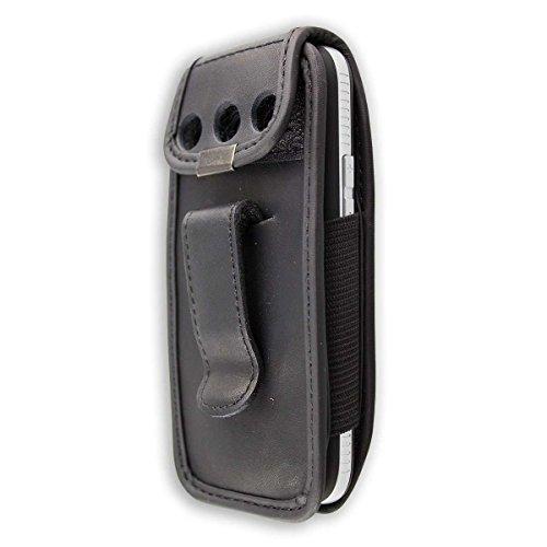 caseroxx Ledertasche mit Gürtelclip für Doro Primo 366 aus Kunstleder, Handyhülle für Gürtel (mit Sichtfenster aus schmutzabweisender Klarsichtfolie in schwarz)