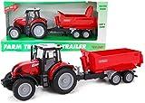 TOYLAND Tractor y Remolque Rojo de 37 cm con Luces y Sonido - Juguetes agrícolas para niños (Tractor y Remolque Rojo)