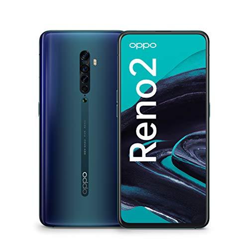 OPPO Reno2 Smartphone (16,5 cm (6,5 Zoll)) 256 GB interner Speicher, 8 GB RAM, AMOLED Bildschirm, Dual SIM, Quad-KI-Hauptkamera/ Pop-up-Frontkamera, ocean blue – Deutsche Version inkl. Schutzcover