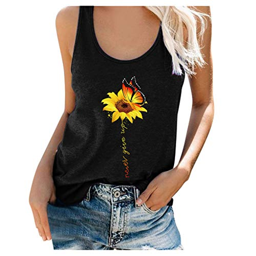 EdC_Blouse Womens Graphic Tank Tops Beach Sunflower and Never Give Up Letter Print Sleeveless Scoop Neck T-Shirt Tunic Shirts Black