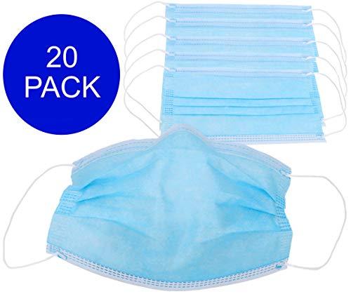 Pack de 20 Máscaras Faciales Protectoras con Anillas - 3 Capas de Protección