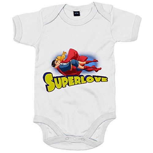 Body bebé Superman Superheroes Super Love - Blanco, 6-12 meses