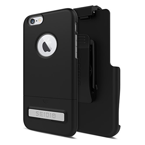 Seidio SURFACE with Metal Kickstand Case & Belt-Clip Holster for iPhone 6/6S - Non-Retail Packaging - Black/Gray