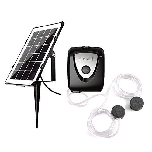 Blusea 3.5W Solar Teichbelüfter, Sauerstoffpumpe mit Zwei Luftblasenstein, 4400-mAh-Akku Wiederaufladbare Luftpumpe für Gartenteiche, Aquarium, Schwarz