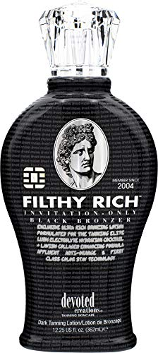 Devoted Creations Filthy Rich - Luxurious Dark Bronzing Formula with Anti-Orange Technology and High Levels of DHA, Natural, & Cosmetic Bronzers for Immediate Color 12.25 oz.