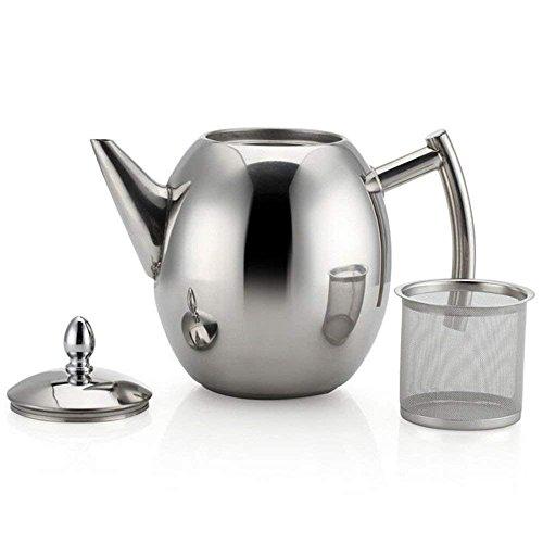 Juego de tetera de acero inoxidable con filtro de infusor y tapa, gran capacidad 1,5 litros de difusor para té suelto, té verde, café #1