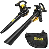 TECCPO Leaf Blower, 3000W Garden Vacuum & Mulcher 3-in-1, Two Speed Switch, Variable