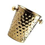 Cubo de hielo Cubo de hielo Contenedor de hielo Cubo de champán de acero inoxidable Soporte de cerveza para el hogar Fiesta Bar (Color: Dorado)