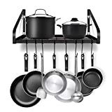 Hanging Pot Rack, G-TING Pot and Pan Organizer Wall Mounted Pots Holder Kitchen Storage Shelf with 8 Hooks, Ideal for Pans Set, Utensils, Cookware, Books, Household, Black, 2 DIY Methods