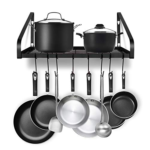 Hanging Pot Rack G-TING Pot and Pan Organizer Wall Mounted Pots Holder Kitchen Storage Shelf with 8 Hooks Ideal for Pans Set Utensils Cookware Books Household Black 2 DIY Methods
