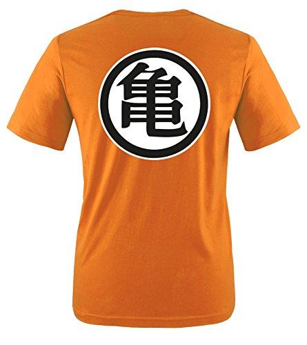 Comedy Shirts T-Shirt à Manches Courtes Son Goku pour Enfants - T-Shirt pour Filles et garçons Logo Dragon Ball Z - T-Shirt en Coton Personnalisable - Orange - 98/104 cm