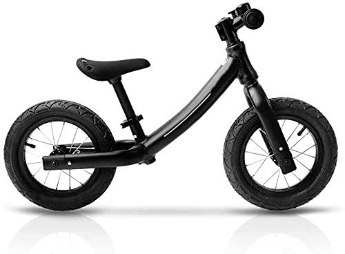 Bicicleta para niños y niñas, bicicleta de empuje para niños, sin pedal, con marco de acero al carbono ligero y manillar ajustable para 2 – 6 años de edad, color negro