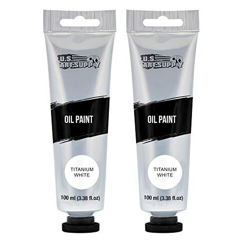 U.S. Art Supply Artists Oil Color Paint, Titanium White, 2 Extra-Large 100ml...