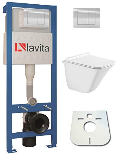WC-Set Vorwandelement inkl. Drückerplatte + Wand WC Parys ohne Spülrand + WC-Sitz mit Soft-Close-Absenkautomatik (QS)