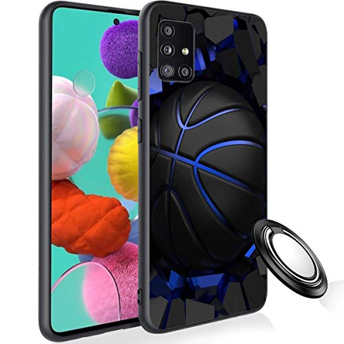 Galaxy A51 Case with Phone Ring Holder, Basketball Rubber Full Body Protection Shockproof Cover Case Drop Protection Case for Samsung Galaxy A51