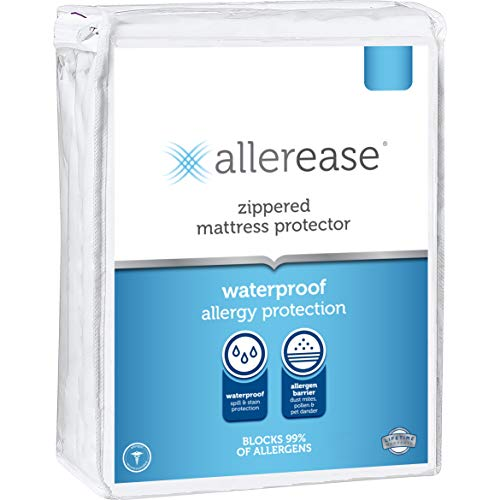 AllerEase Allergy Zippered Protector, King Size – Hypoallergenic Mattress Cover, Protects Against Household Allergens, Waterproof and Machine Washable, White