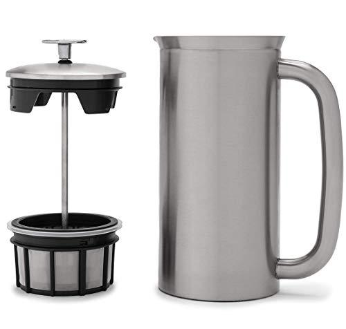 ESPRO French Press P7, Kaffee Stempelkanne mit Thermofunktion, Coffee-Maker, Kaffeezubereiter, Edelstahl gebürstet, 530 ml