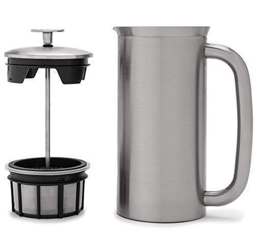 ESPRO French Press P7, Kaffee Stempelkanne mit Thermofunktion, Coffee-Maker, Kaffeezubereiter, 950ml, Edelstahl gebürstet