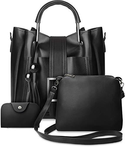 Damen Taschen Set 3 in 1 Shopper Kartenetui Schultertasche schwarz