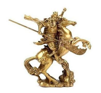 Hong Yi Fei-Shop Dios de la Fortuna Brass Chinese Crafts Antiguo héroe Guan Gong Guan Yu Paseo en la Estatua del Caballo 2020 Cobre asiático Exquisito de Budismo Chino Feng Shui Decoración