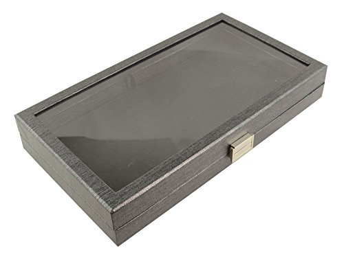 BOX DISPLAYS® Full Size Display Tray Case met Clear Acryl deksel & Zwart Kunstleer Display Pad BD8385-931BKV