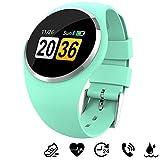 MHCYKJ Fitness Tracker Smart Watch Hombres Mujeres Pulsera de Acero Inoxidable Life Dispositivo portátil Resistente al Agua Smartwatch Fitness Bracelet,Verde