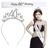 LOPOTIN Corona Cristallo 40 Anni, Diadema di Compleanno, Fascia Raso Compleanno, Kit Corona Metallo Argentato Cristallo Raso per Costumi Ragazze Donne della Principessa nella Festa di Compleanno.