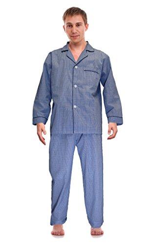 RK Classical Sleepwear Mens Broadcloth Woven Pajama Set, Size Medium, Royal Blue, Plaid