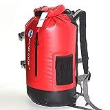 Shfmx Trockentasche Wasserdichten 30L Outdoor-Rucksack, Reisen Drifting Rudern Kajak-Kanu-Camping Skifahren mit wasserdichter Handy-Tasche,Red