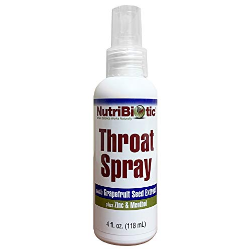 NutriBiotic Throat Spray with GSE| 4 fluid oz | With Grapefruit Seed Extract (Citricidal), Zinc & Menthol| Gentle and Soothing Sore Throat Relief| Alcohol Free| Non-Medicated| Not Tested on Animals