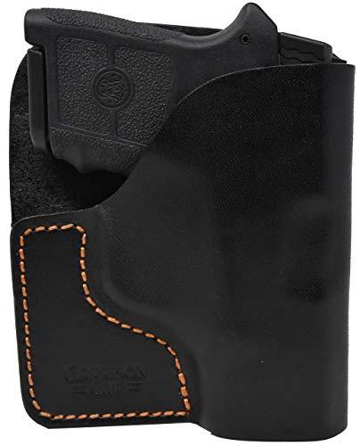 Garrison Grip Premium Stitch Black Italian Leather Pocket Holster for S & W Bodyguard 380