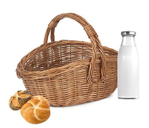 Wrenbury Shopping Basket Wicker Basket Traditional Cookery Shopper | Golden Willow Perfect for Markets, Picnics, Garden.