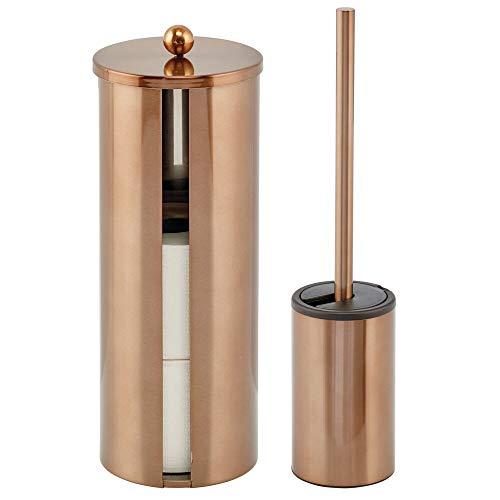 mDesign Toilettenpapierbehälter und Toilettenbürste – 2 Stück Venezianische Bronze