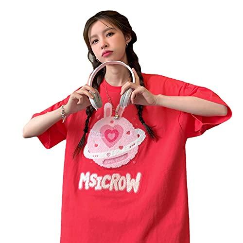 韓国ファッション 韓国 レディース tシャツ レデ 夏 韓国 tシャツ 韓国ファッション半袖tシャツ レディースィース 韓国 (赤)