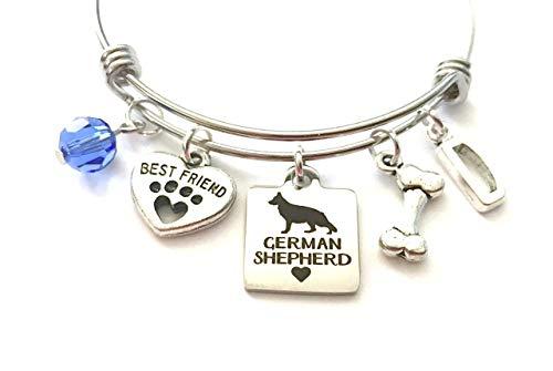 German Shepherd Charm Bracelet Personalized Expandable Stainless Steel Bangle