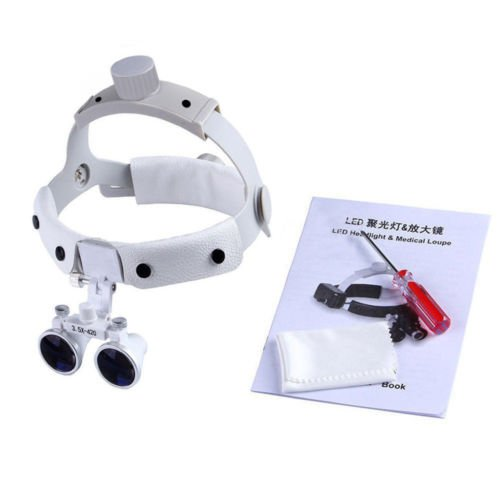 Dental 3.5X420mm Surgical Medical Binocular Headband Loupes DY-108 White by SuperElight