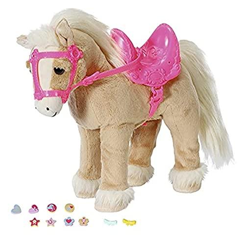 Zapf Creation 831168 BABY born My Cute Horse - Eletronisches Plüschpferd mit Lauf- und Soundfunktion, rosa Sattel, rosa Zaumzeug und Pins zum Dekorieren