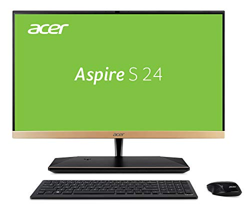 Acer Aspire S24-880 (23,8 Zoll Full-HD) All-in-One Desktop PC (Intel Core i7-8550U, 8 GB RAM, 256 GB PCIe SSD + 1000 GB HDD, Intel UHD, Win 10, inkl. USB Tastatur + USB Maus) schwarz/gold