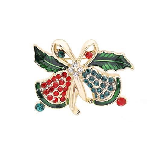 Pin broche diamanten Kerstmis broche creatieve rode appel sneeuwpop bell elanden metalen badge kleding accessoires sieraden gift