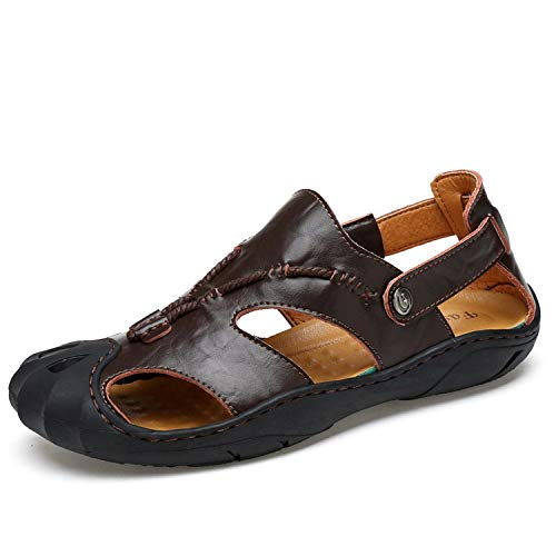 Genuine Leather Summer Soft Male Sandals Shoes for Men Breathable Light Beach Casual Walking Sandal Size 48,Dark Brown Shoes,8.5