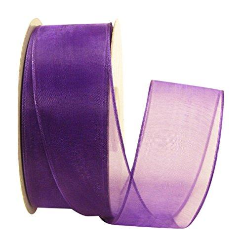Ribbon Bazaar Wired Sheer Organza Ribbon 1-1/2 inch Purple 25 Yards 100% 100% Polyester