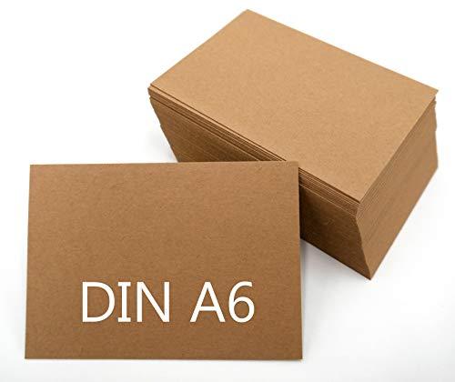 DIN A6 Blanko Kraftpapier Postkarten Karteikarten Set braun zum Selbstgestalten 225 & 300g/m² Bastelkarton (100 Blatt 225g/m²)