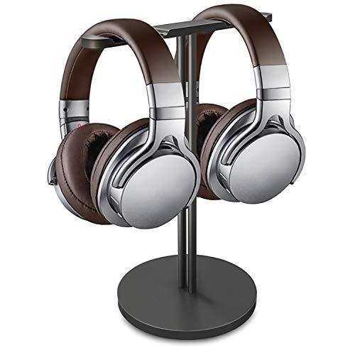 Equilibrio Dual Soporte Auriculares, Doble Soporte de Aluminio, Stand para Headset de Juego con Base Maciza y Pesada, Aplicable a Auriculares de Diadema de Todo Tamaño (Negro)
